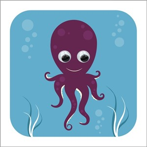 Doble kort 110x110, Wobbly Eyed, Oscar Octopus