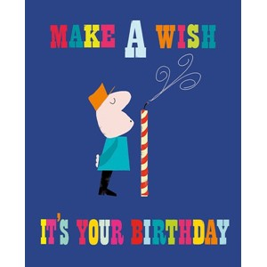 Kort, Ink Press m/farget bakgrunn, 'Make a Wish'