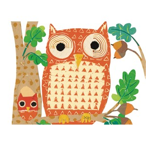 Enkelt kort  Art Press,148x105, Oaktree Owls